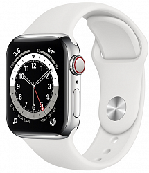 Смарт-часы Apple Watch Series 6 GPS + Cellular 40mm M06T3 Silver Stainless Steel Case with White Sport Band